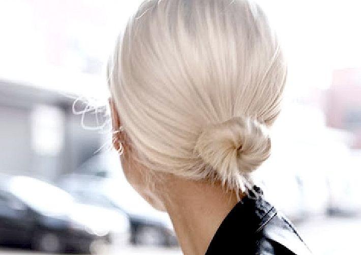 Tiny, twisted platinum bun #hair