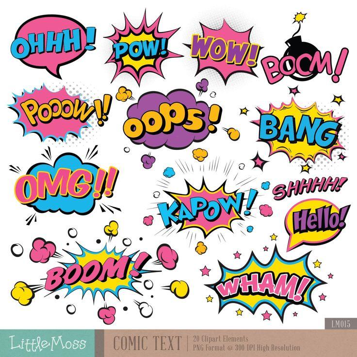Texto cómic Digital Clipart superhéroe texto gráfico