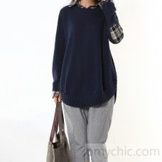 Navy winter sweaters fake two pieces