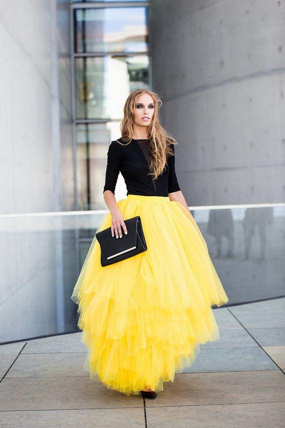 multilayer tulle skirt full tulle skirt maxi tulle by Fanfaronada