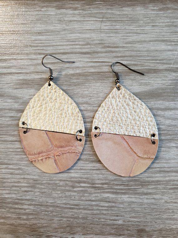 Large divided tear / Leather / Earrings / Metallic Champagne / Nude / Jewelry / Geometric / …   – Schmuck selber machen