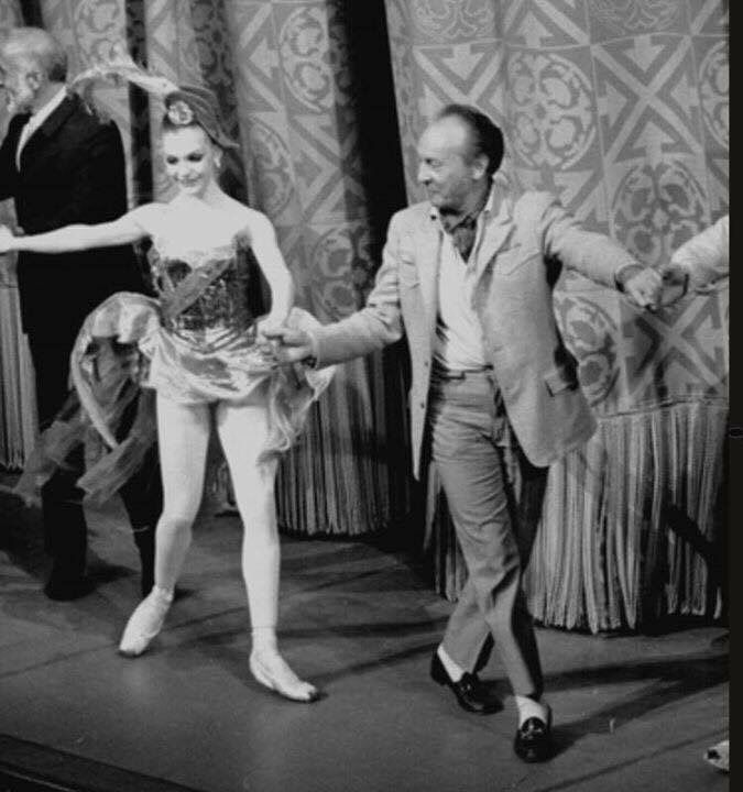 """Gelsey Kirkland taking a bow with Mr..B after the premiere of his version of """"The Firebird"""" choreographed especially for Gelsey's specific qualities as he saw them......Gelsey hated the headpiece (by Karinska) she was expected to wear but gave in grudgingly......just a small skirmish in the G versus B war......."""