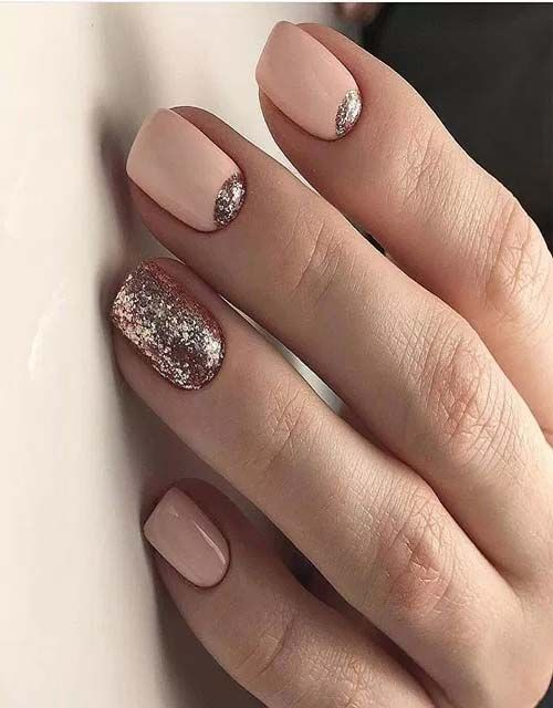 Nude And Rose Gold Nail 2019 Nehty Pinterest Uña Decoradas