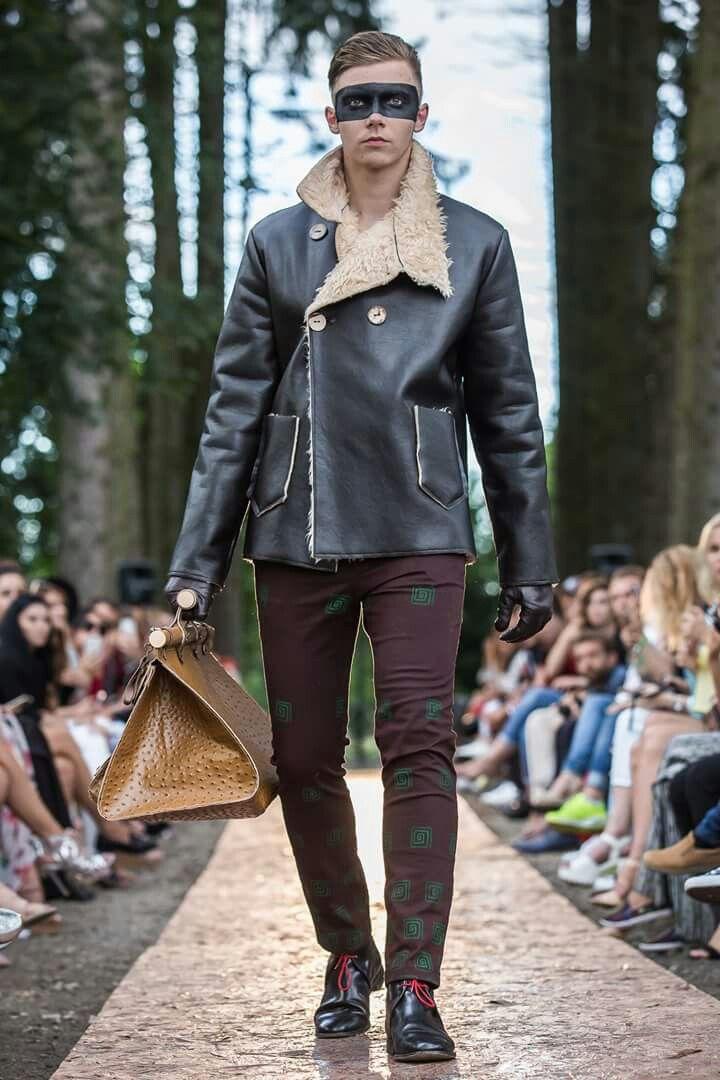 Winter coat, faux fur, printed doc men pants, Wonderland by Lavinia Ilies
