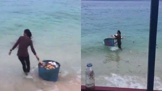 Video Dua Wanita Buang Sampah di Pantai Donggala Palu Yang Jadi Viral