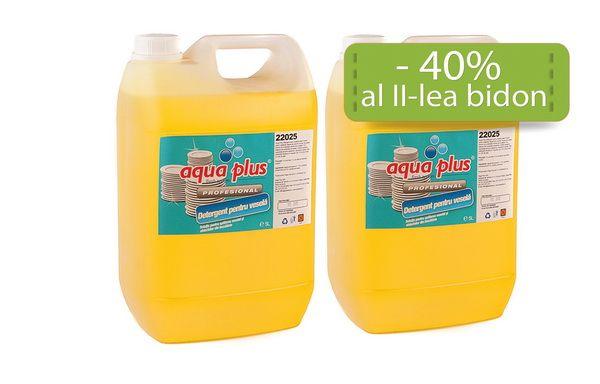 Magie cu detergentul de vase: nicio pata, o singura spalare!  La fiecare bidon de detergent de vase Aqua Plus la 5 L cumparat, vei primi al doilea bidon la doar 10,50 lei! Beneficiezi de o reducere de 40%!