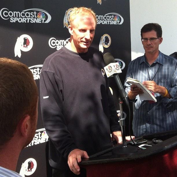 #Redskins defensive coordinator Jim Haslett addresses the media prior to 9/20/12 practice.