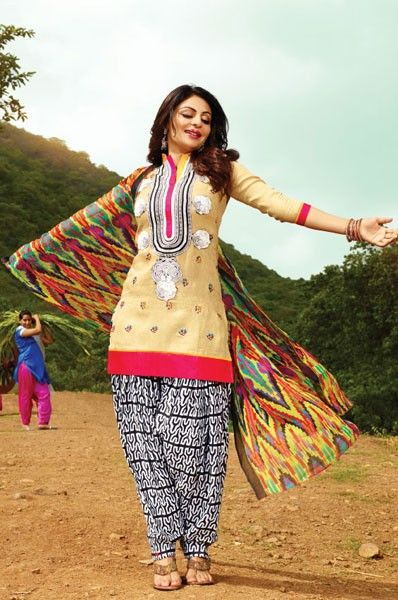 Neeru Bajwa Printed Beige Patiala Suit