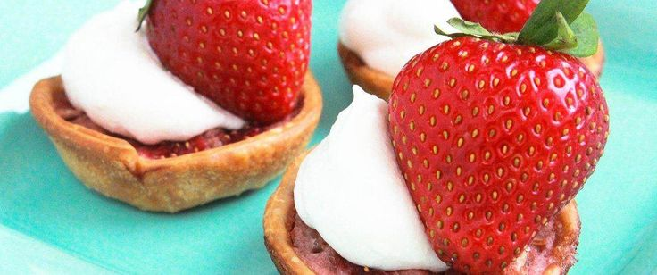 We spooned rhubarb-strawberry mixture into Pillsbury pie crust-lined muffin cups to create our mini Strawberry Rhubarb Tarts.