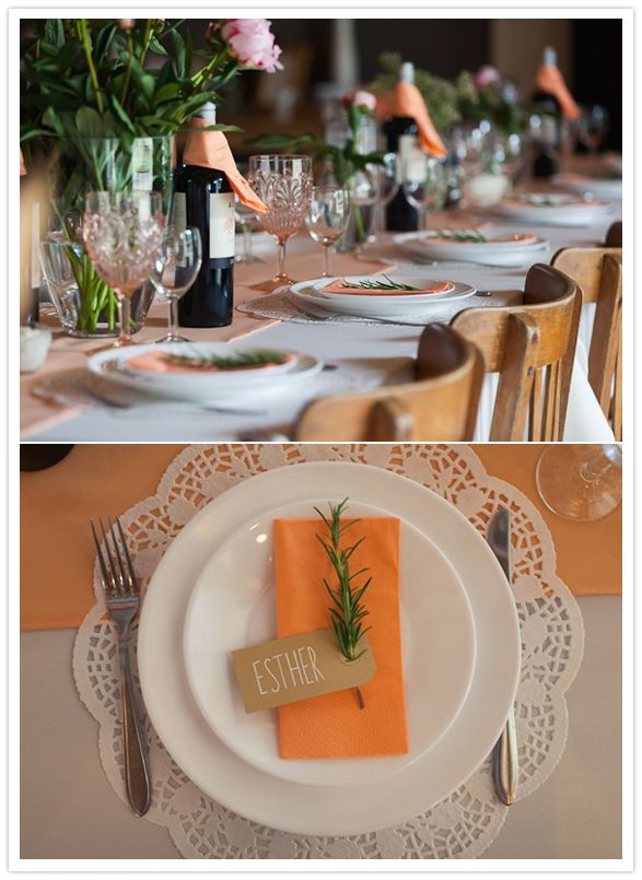 paper doily charger, orange napkins and rosemary plate accents