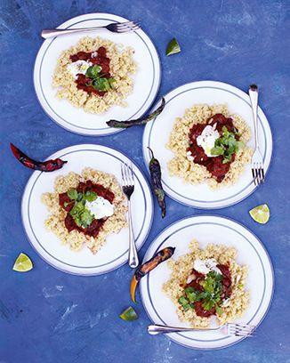 chili con carne meatballs with lemon bulgar