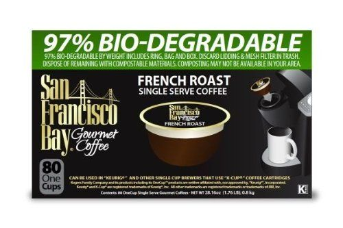 San Francisco Bay Coffee French Roast, 80 OneCup Single Serve Cups Dark roasted Central and South American beans for an intense, smoky coffee. Compatible with Keurig K-Cup brewers and other single serve brewers, not compatible with Keruig Vue or Rivo. OneCups are 97% biodegradable so you can protect the planet while enjoying delicious coffee. Inspected repeatedly before, during and after roasting. Grown responsibly and Fairly Traded.