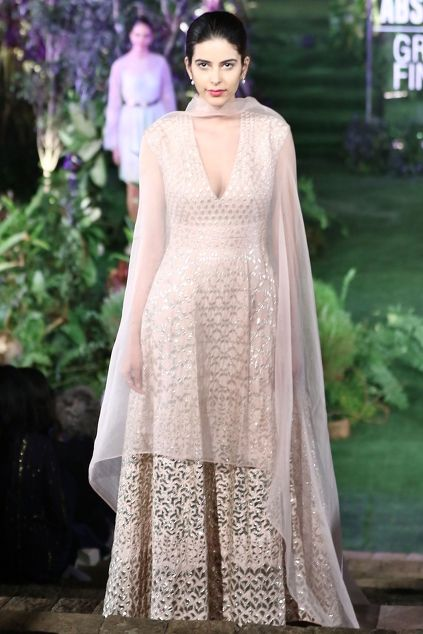 Sage green embroidered gown & organza cape