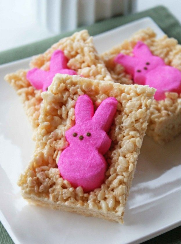 Rice Krispie treats with pink marshmallow Peeps bunnies pressed into them. Cute, no?