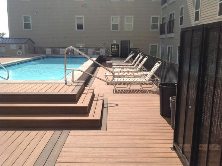 This Beautiful Elevated Pool Deck Was Built By Decks Unlimited In Lafayette Indiana Featuring Trex Trans Railings Outdoor Deck Building Plans Building A Deck