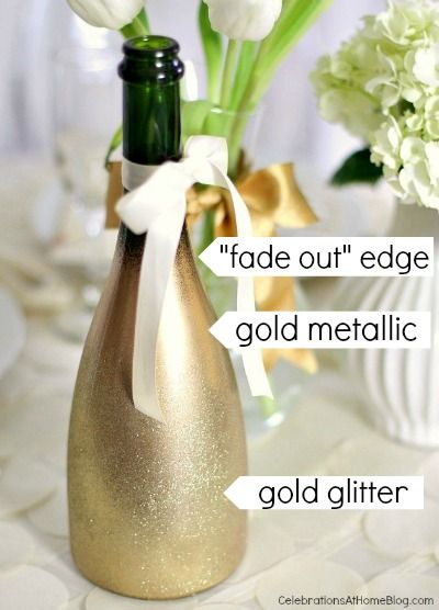 DIY Gold Sparkling Ombre bottle  / Love it How Simple but Glamorous it is!