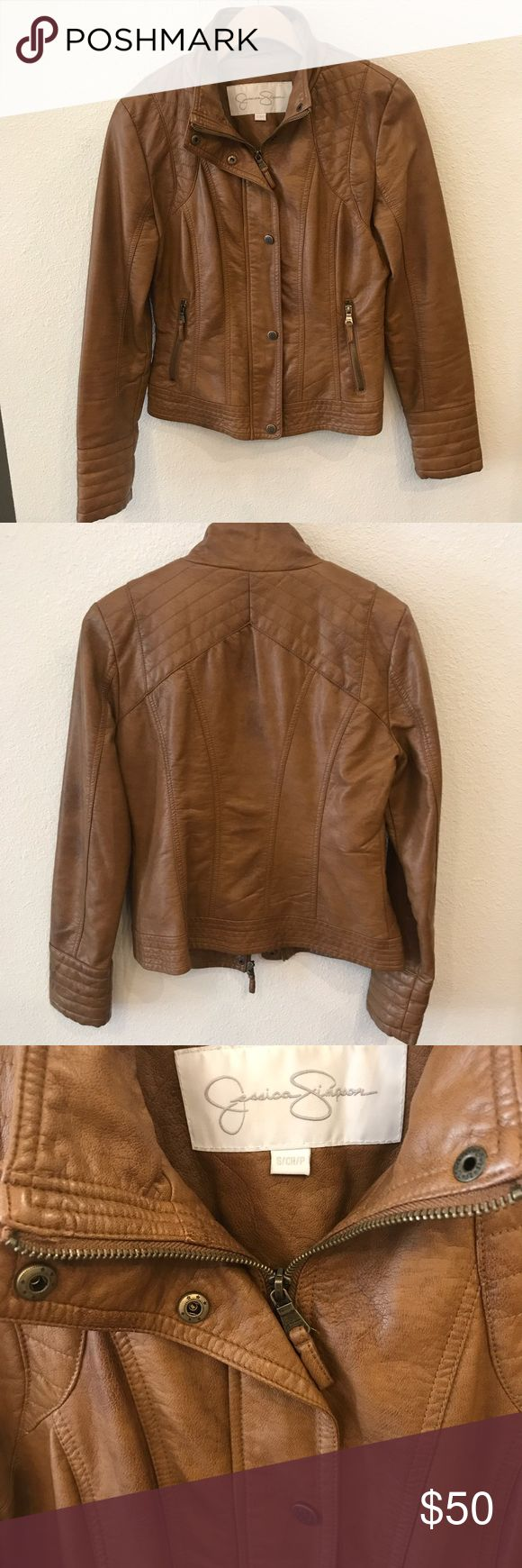Jessica Simpson Brown Jacket Leather like jacket, only worn once. Very cute for fall! In excellent condition. Jessica Simpson Jackets & Coats
