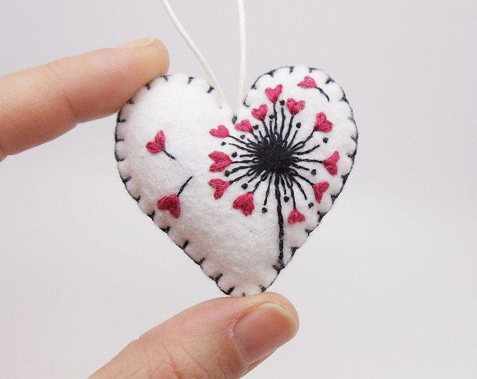 Dandelion Heart Seeds Miniature Felt Heart Ornament Dandelion Valentine Ornament Dandelion Seed Ornament Valentine S Felt Hearts Heart Ornament Felt Crafts
