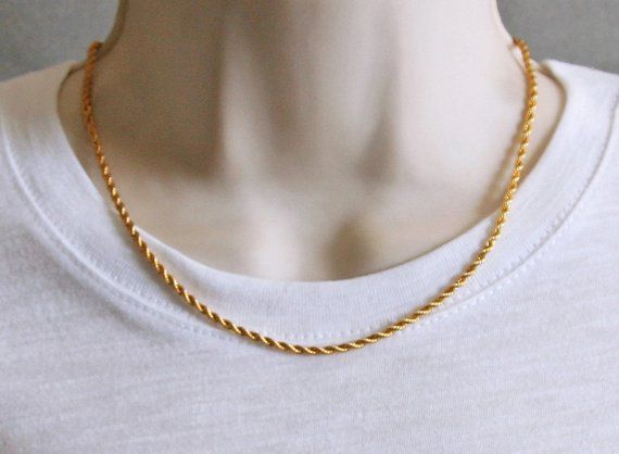 ff56f87b4aa79 3mm Gold Plated ROPE CHAIN / Chain Necklace for Men or Women ...