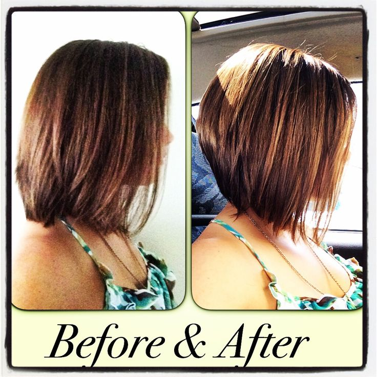Inverted bob with highlights.