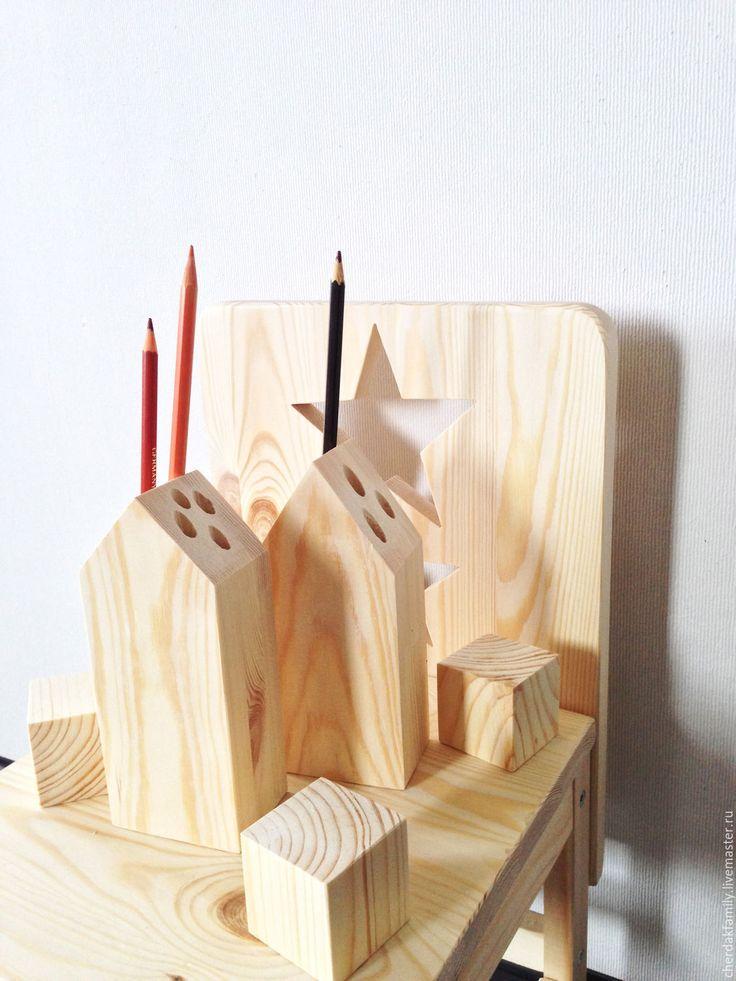 pencil holders /  Купить Карандашница деревянная - бежевый, деревянный, из дерева, домик, дом, карандашница, органайзер, для ручек, в детскую