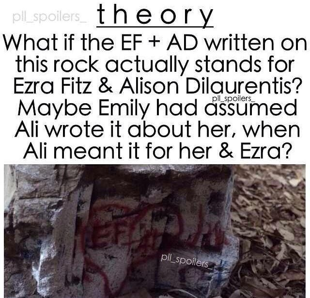Theory: EF + AD = Ezra Fitz(gerald) + Alison DiLaurentis instead of Emily Fields - Pretty Little Liars