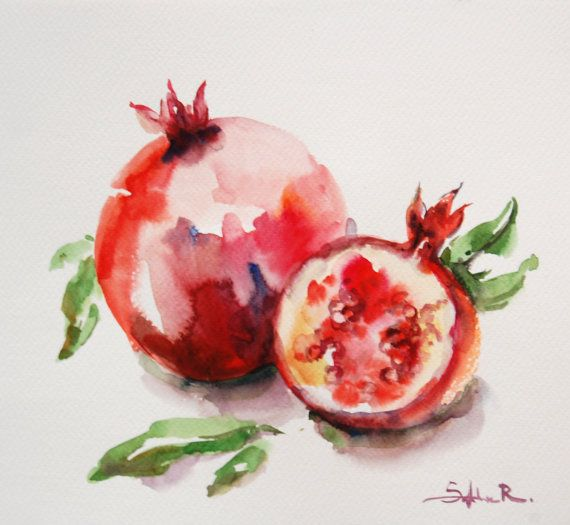 Original Watercolor Painting. Red Pomegranates Still by CanotStop, $64.00