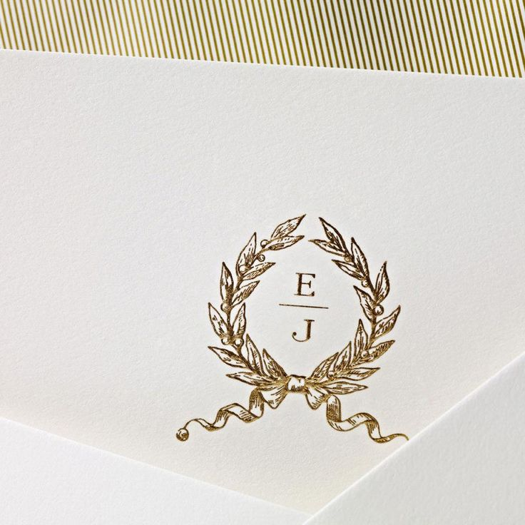 Classic Engraved Wedding Monogram : Hand Engraved Embassy Wedding Invitation with Monogram