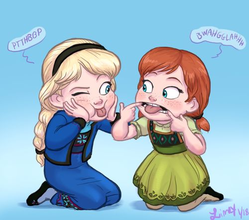 LOL! Cute little Anna and Elsa as kids. @Molly Simon White This is how we will entertain one another when we meet. Just saying.