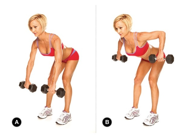Bent over row:  keep wrists facing body at 45 degree angle. Weight in heels.