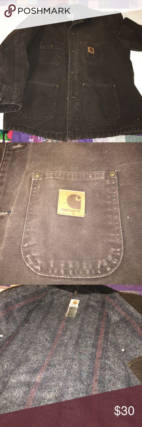 Carhartt Duck Chore Lined Jacket Blanket Lined-Pre Loved Carhartt Jacket-Size 2XL Work Jacket! Has a couple of very small holes from my husband welding. Very Clean and still Has a lot of life left in it. My husband only wore it 3 times. Has been laundered. Carhartt Jackets & Coats
