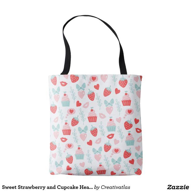 Tote Bags | Sweet Strawberry and Cupcake Heart Lips Tote Bag | Cute