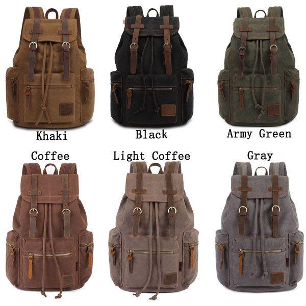 KAUKKO Canvas Genuine Leather Outdoor Big Capacity Shoulders Bag Backpack