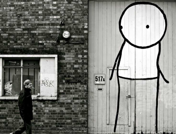Stik Street Art Print - London Photography - Black and White - Large Poster by LittleObservationist on Etsy https://www.etsy.com/uk/listing/268970091/stik-street-art-print-london-photography