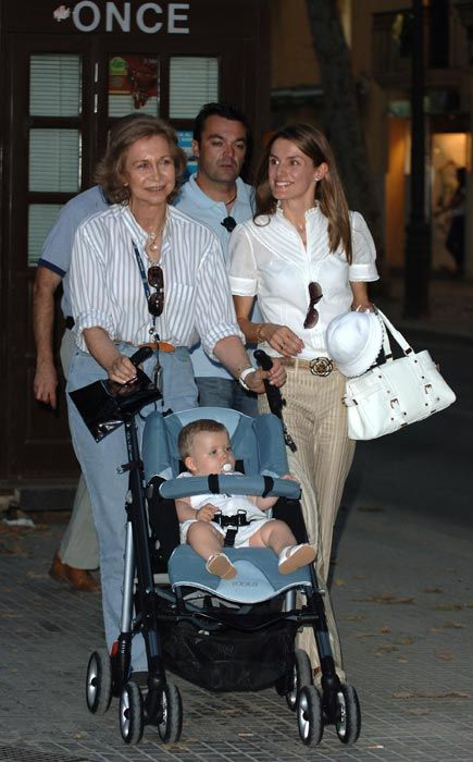 Spain's future queen through the years ~ Queen Sofia and Princess Letizia enjoy some time alone with the baby during their summer holiday in Mallorca.