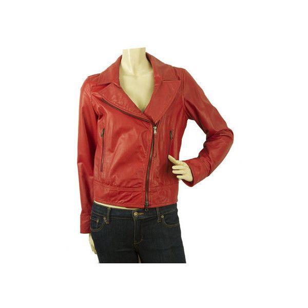 Lot 78 Red Short Genuine Leather Biker Jacket sz 42 w. Side Zipper via Polyvore featuring outerwear, jackets, leather biker jacket, real leather jackets, short leather jacket, leather jackets and short-sleeve jackets