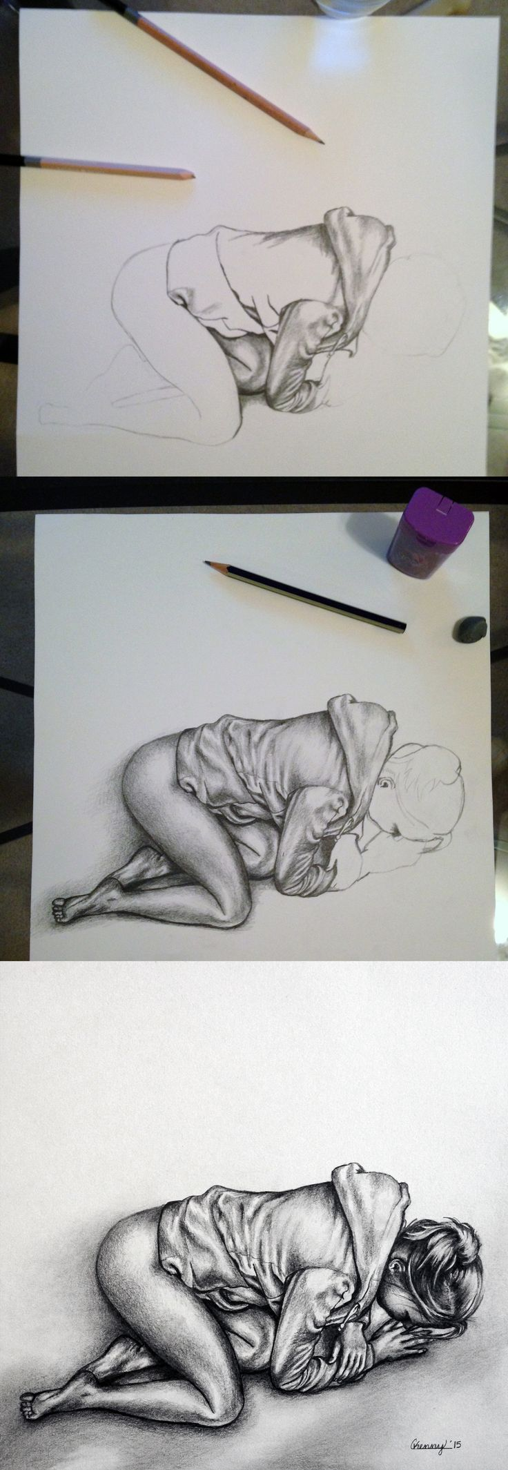 """Courtney Kenny Porto """"Hoodie"""" drawing in progress #art #drawing #realism #woman #modern #contemporary"""