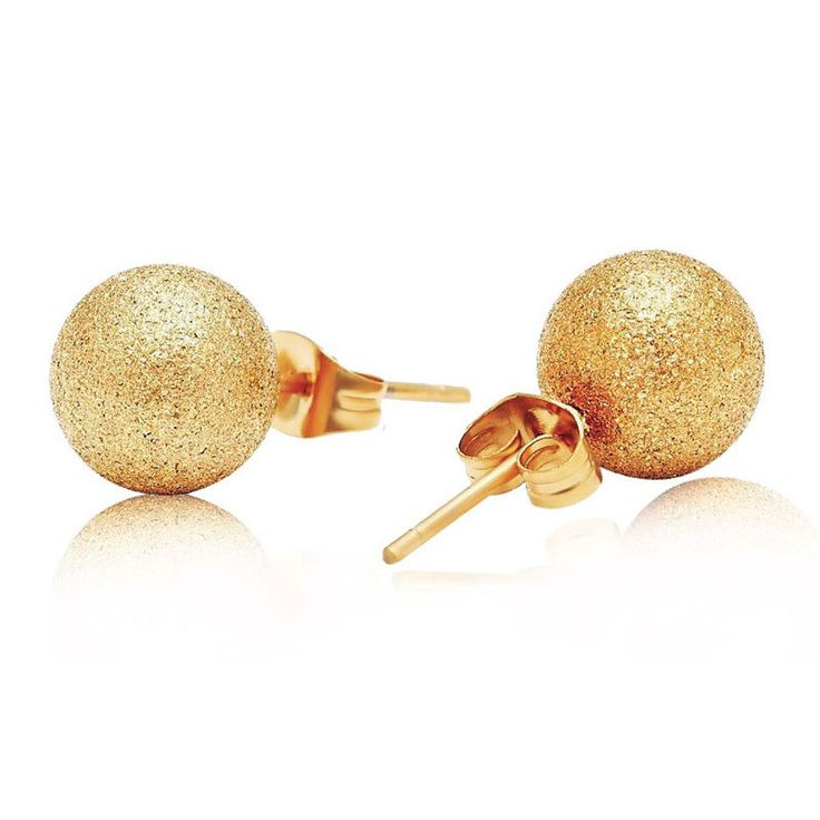 Surgical Steel Gold Ball Stud Earrings. They are tarnish resistant PVD 18k gold plated over surgical 316L stainless steel ball, 8mm in size. Big enough to be noticed and not very heavy. They are sold as a pair and are also available in other different sizes: 4mm, 6mm or 10mm in diameter. The laser cut