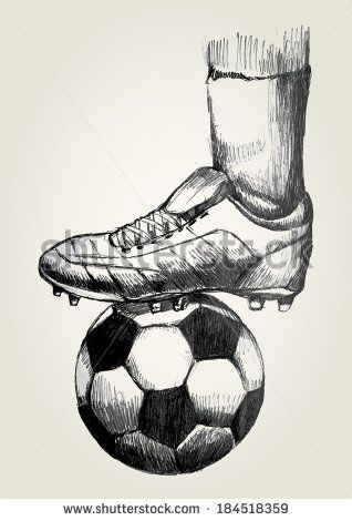 Sketch illustration of a soccer player's foot on soccer ball