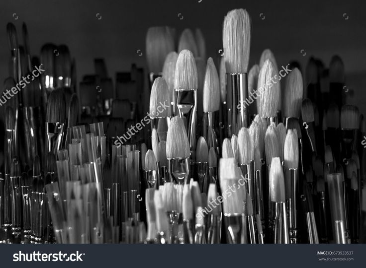 A group of new paint brushes. Black and white photo.