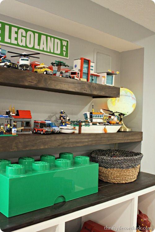 DIY Floating Shelf For Legos In Boys Room (dark Stain)