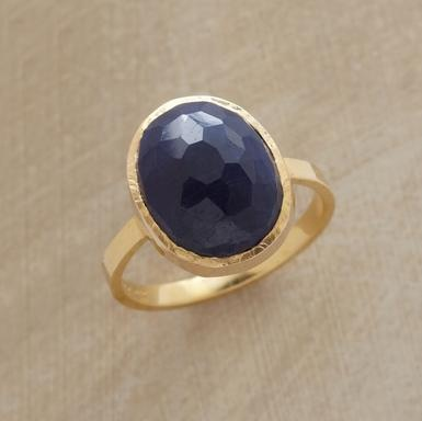 Facets brighten the domed surface of inky blue sapphire while its interior remains opaque. Set amid lightly hammered 18kt gold on a slender band. Handmade in USA by Jennifer Dawes.: Big Rings, Blue Sapphire Rings, Unique Rings, Gold Rings, Domes Blue, Rose Rings, Blue Rings, Blue Stones, Handmade Jewelry