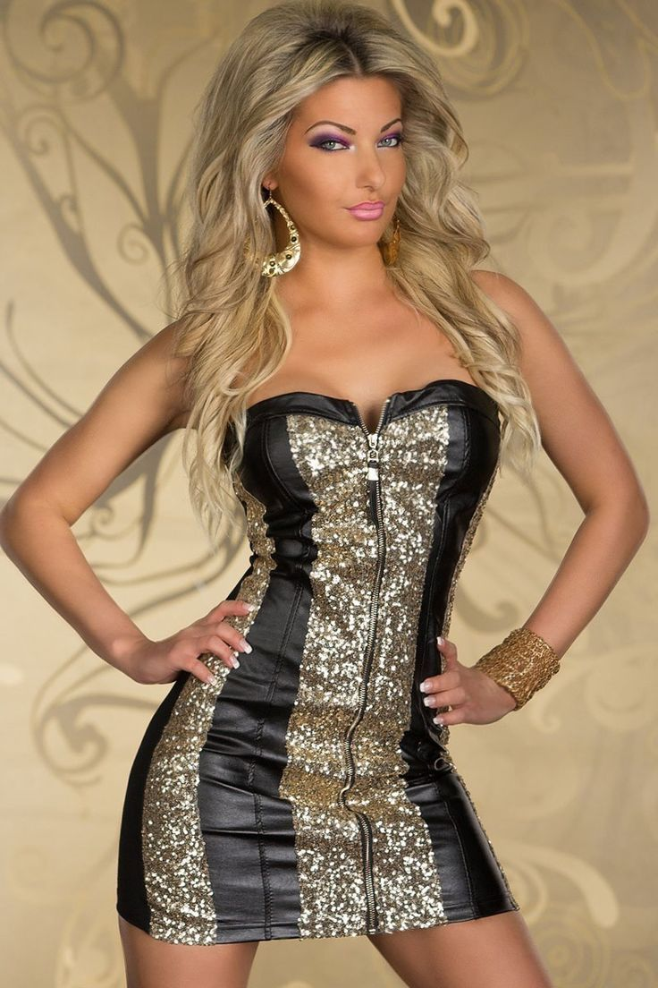 Sparkling Gold Sequin Strapless Cocktail Dress Black