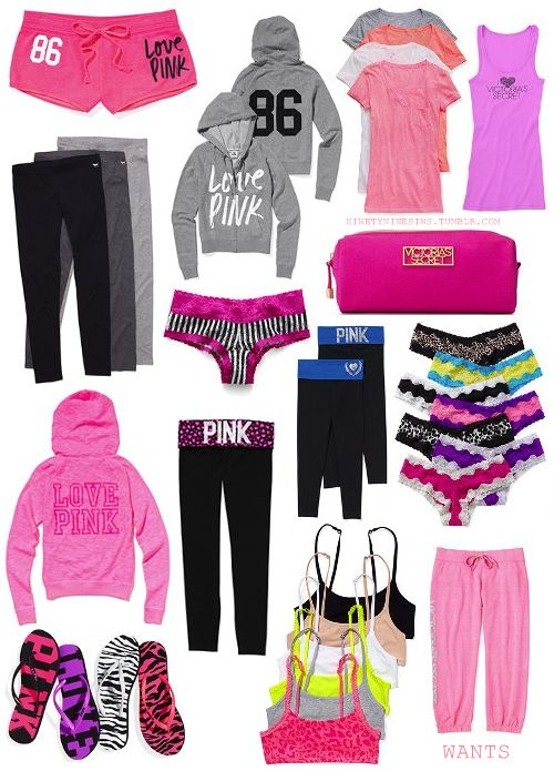 Victoria's Secret Pink survival kit! Oh what I could do if i won this contest!  VS Love Pink! Victoria's Secret Pink - Pink -vs pink - vs - cute clothes - work out clothes - pajamas