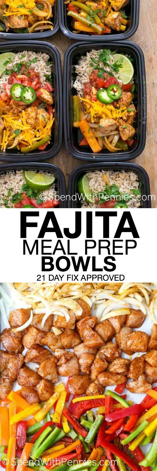 No matter how busy life gets, we still have to eat. With easy make ahead ideas like these Fajita Meal Prep Bowls, eating great all week is as easy as opening the fridge to grab a dish! Theyre delicious, healthy and 21 day fix approved and they freeze perfectly!