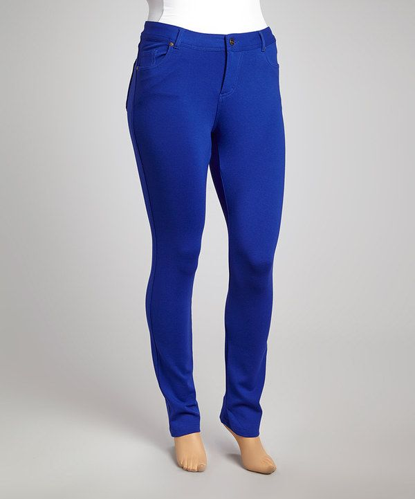 Another great find on #zulily! Brilliant Blue Skinny Pants - Plus by Poplooks #zulilyfinds