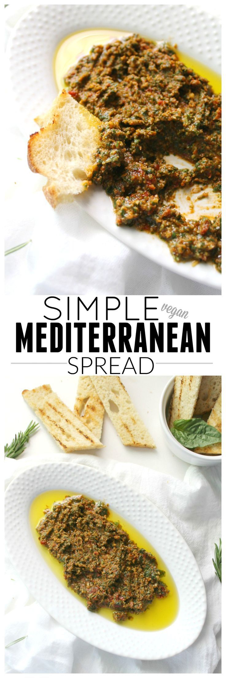 This Simple Vegan Mediterranean Spread is filled with fresh herbs and sun-dried tomatoes and can be served on sandwiches, as a dip or even with pasta | http://ThisSavoryVegan.com