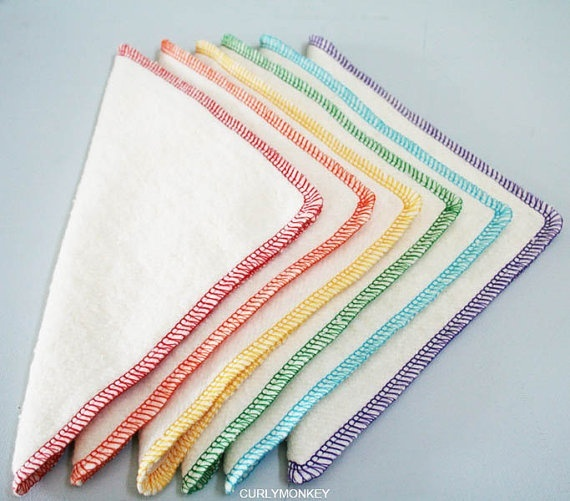 Organic baby wipes, ecru flannel with colorful serging