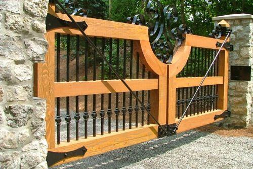 Spanish Cedar Wood Gate with Wrought Iron Hardware - Finelli Ironworks