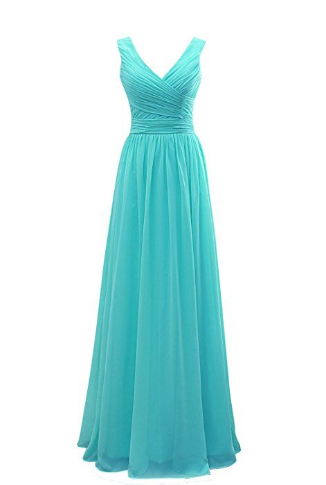 Onlinedress Women's V Neck Pleat Long Bridesmaid Dresses Size 6 Tiffany Blue